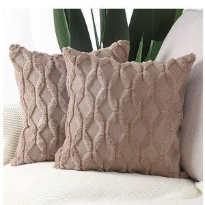 Luxury Style Cushion Case Pillow Shell for Sofa Bedroom Light Brown
